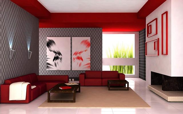 červenošedý interiér, obývák